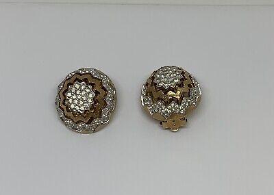 Vintage Panetta Yellow & White Tone Rhinestone Zig Zag Pattern Clip on Earrings (Yellow Rhinestone Clip Earrings)