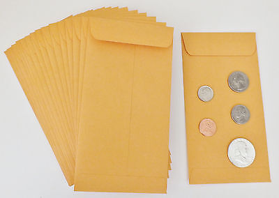 50 New Kraft Coin Envelopes 3 12 X 6 12 20lb Manila Coins Not Included 7