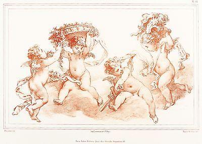 FRANCOIS BOUCHER - Spielende Putten - E. Wattier - Lithografie 1840