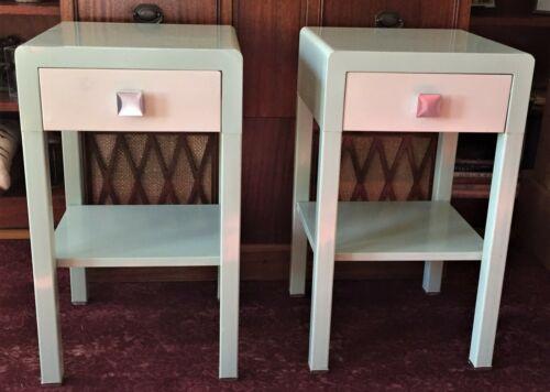 Pair Vintage MCM Furniture Steel Stands Tables Metal Bel Geddes Simmons Antique