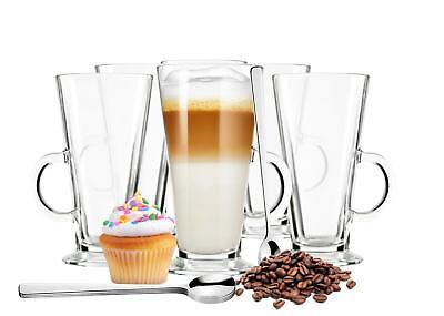 6  Latte Macchiato Gläser und 6 Edelstahl-Löffeln (gratis) Kaffeegläser Teeglas