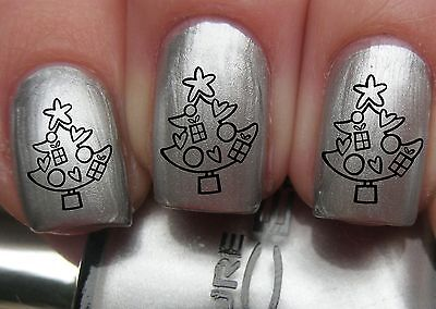 Nail WRAPS Nail Art Water Transfers Decals - Christmas Gift Tree - C015