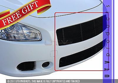GTG Gloss Black 2PC Combo Billet Grille Grill Kit fits 2009 - 2014 Nissan Maxima