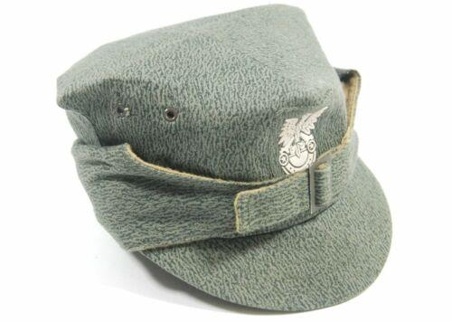VINTAGE ORIGINAL POLISH ARMY CAMOUFLAGE FIELD CAP HAT + BADGE COLD WAR POLAND 59