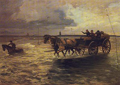 AK: Wattenpost zwischen Duhnen und der Insel Neuwerk, um 1905