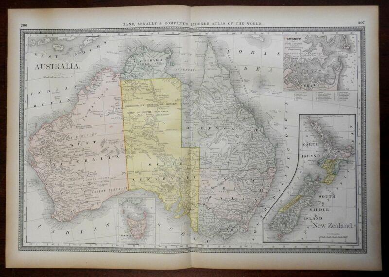Australia & New Zealand Tasmania New South Wales Sydney 1881 Rand McNally map