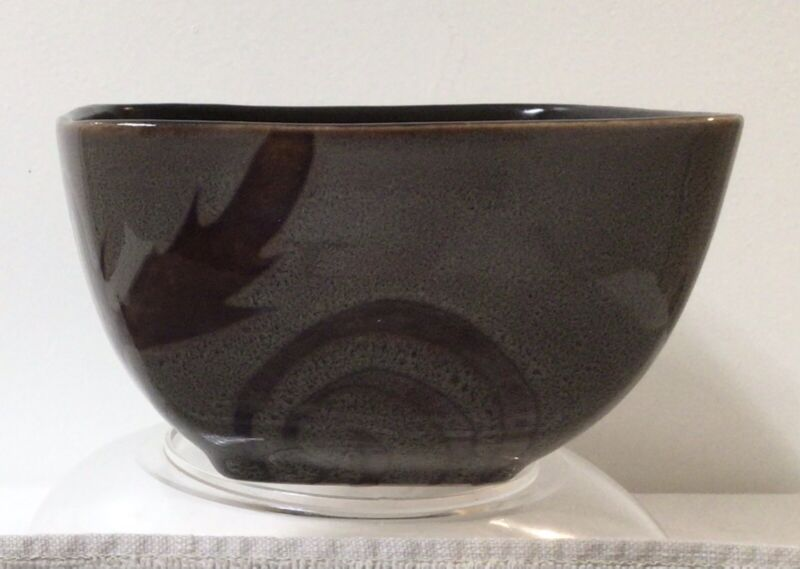 Oneida Grey Solare Damask Scroll Square Cereal Soup Bowl, discontinued pattern