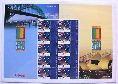 World Stamp Expo 2000 USA large stamp sheet, 2000, Australia, 10 stamps, 45c MNH