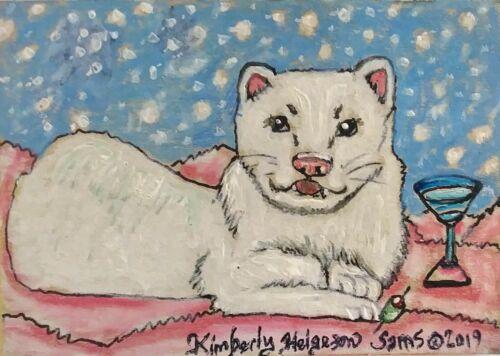 Ferret Collectible 8 x 10 Art Print Snowball Martini Signed Artist KSams Vintage
