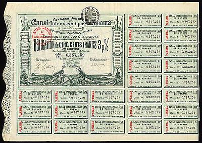 Cie Universelle du Canal Interoceanique de Panama, 3% bond, 1884, 500 francs