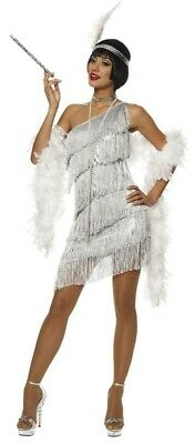 Silver Flapper Womens Costume Dress Roaring 20s 1920s Dazzling Gatsby Sexy Adult (Silver Flapper Dress Costume)