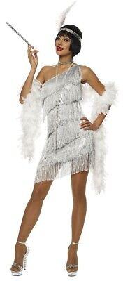 Silber Flapper Damen Kostüm Kleid Roaring 20s 1920er Jahre Tolle Gatsby - Damen Sexy Flapper Kostüm