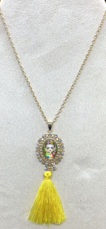 Frida Kahlo With Tassel Yellow Fashion Necklace
