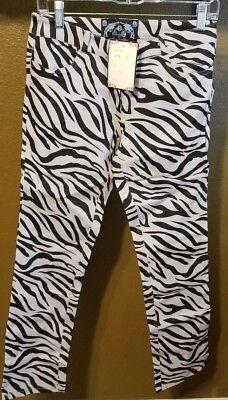 New Guilty Clothing Black & Gray Zebra Print Skinny Jean Pants Women Size 28-30](Zebra Pants)