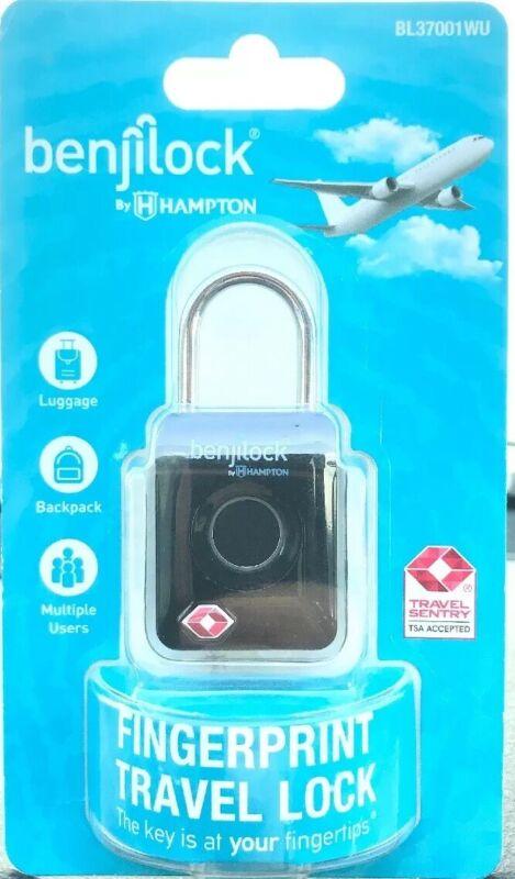 BenjiLock By Hampton BL37001WU-2 33mm TSA Fingerprint Travel Lock - Black - New