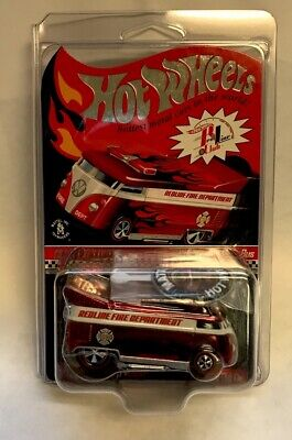 2009 Rlc Redline Club Hot Wheels Vw Volkswagen Drag Bus Fire Department.Very HTF