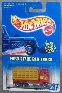 1991 HOT WHEELS Blue & White Card  FORD STAKE BED TRUCK  # 237