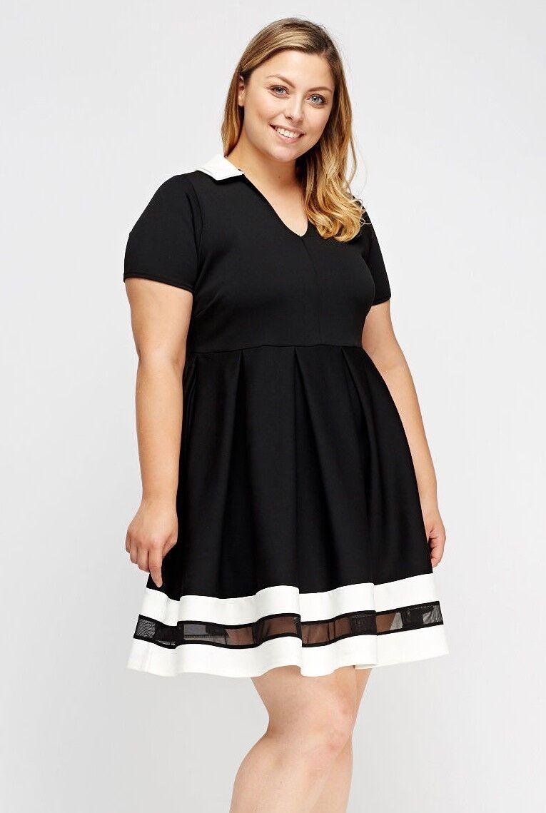 Kleid Gr.46 Stretchkleid Damen Mesh schwarz weiß festlich Kurzarm Neu Babydoll