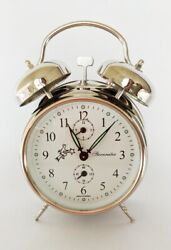 Mechanical Double-Bell Alarm Clock MM11160220, Made in Europe, Nickel Silver
