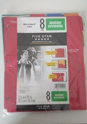 Five Star 8-tab Binder Dividers With Pocket Multicolor Multi-colored