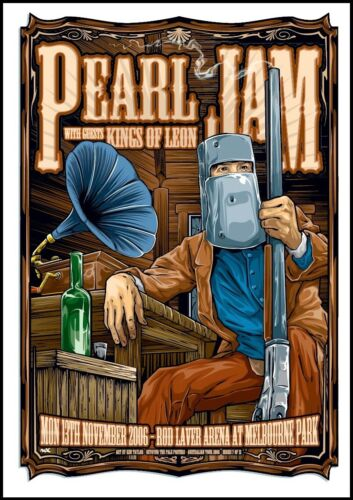 PEARL JAM - 2006 - KEN TAYLOR - KINGS OF LEON  - MELBOURNE - TOUR POSTER