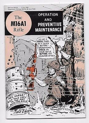 1969 ARMY M16A1 RIFLE Operation Maintenance Manual Vietnam Era Comic Style