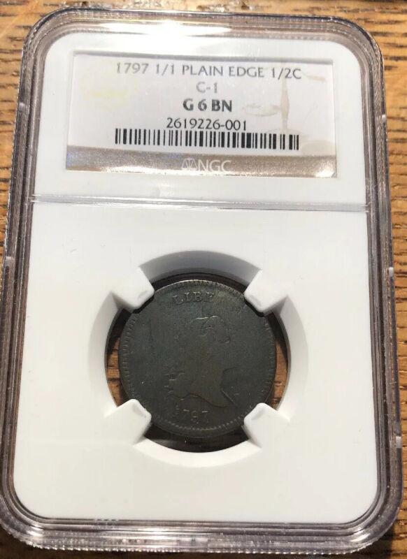 1797 1/1 Plain Edge Half Cent. C-1. NGC. G6 Brown
