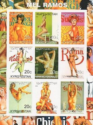 NUDE SEXY LADY EROTIC ART KYRGYZSTAN 2000 IMPERFORATED MNH STAMP SHEETLET