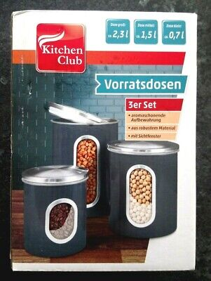 Kitchen Club (Kitchen Club Vorratsdosen 3er Set, hell grau)