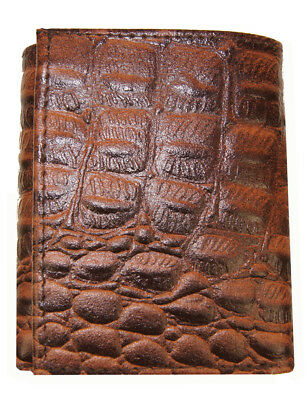 AG Wallets Mens Crocodile Embossed Credit Card ID Leather Brown Trifold - Trifold Wallets