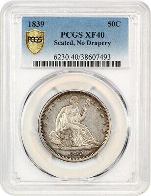 1839 50c PCGS XF40 (No Drapery) Scarce Type Coin - Liberty Seated Half Dollar