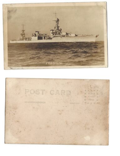 RPPC WWII US NAVY SHIP  USS CHESTER Original Photo from WWII Era