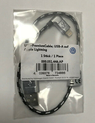 Genuine VW Braided Cable USB to Apple Lightning, iPhone NEW Still In Packaging