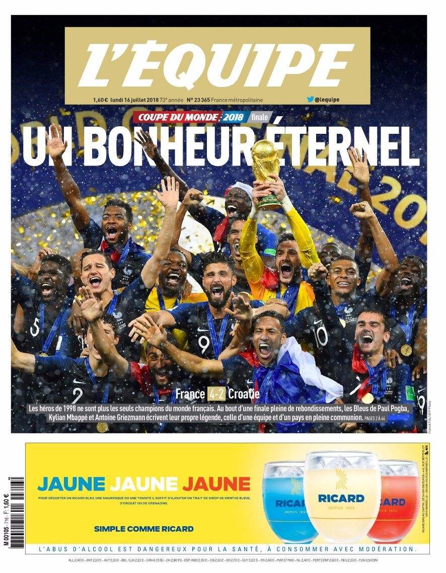 JOURNAL   L EQUIPE   COLLECTOR CHAMPIONS DU MONDE 2018 FRANCE CROATIE MBAPPE ( MAX: 3 ) [ +Peso( $ 51.00     c / 100 gr ) ]   (EBS)