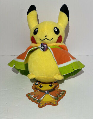 Pokemon Center Original Plush Doll Phoenix Poncho Pikachu Stuffed Toy with Hang