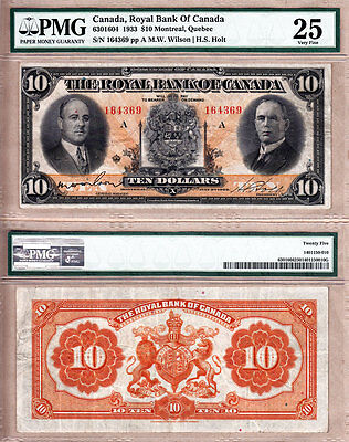 Scarcer 1933  10 The Royal Bank Of Canada  Last Issue Date For Rbc Large Size