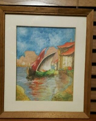 Vintage Gouache Painting of Colorful Sailboats on Shimmering Water Near Shore