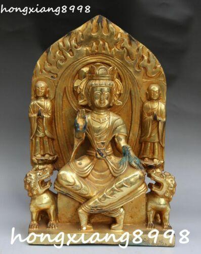 """12"""" China Bronze Kwan-yin Guanyin Guan Quan Yin Goddess Tongzi Lion Beast Statue"""