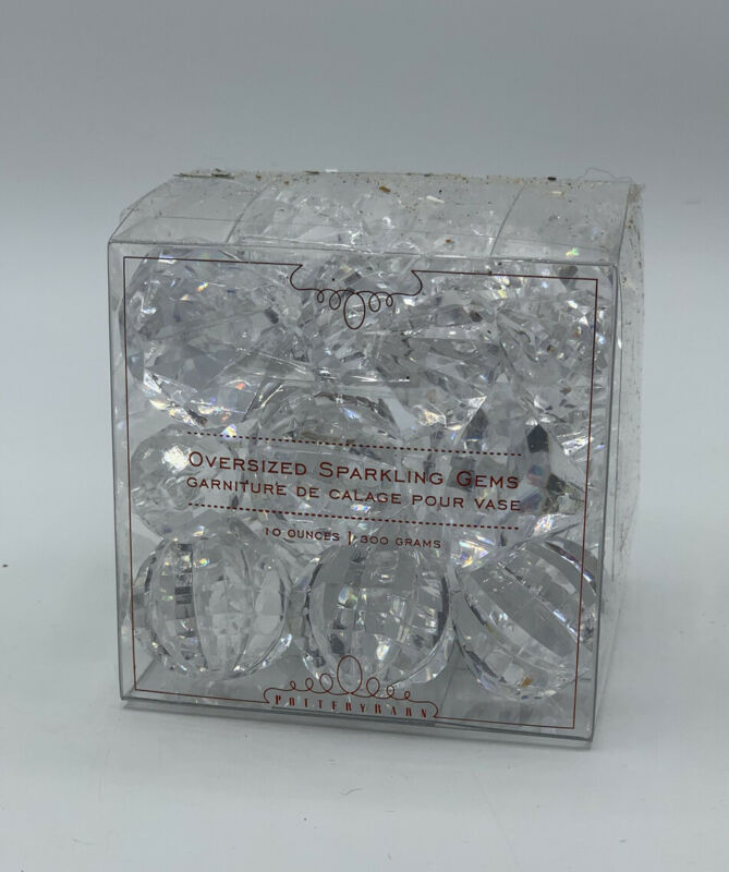 Pottery Barn Faceted Clear Oversized Sparkling Gems Holiday Decor NEW