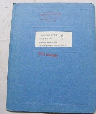 Trygon M36-10a Instruction Manual Mercury Instrument Transistorized Power Supply