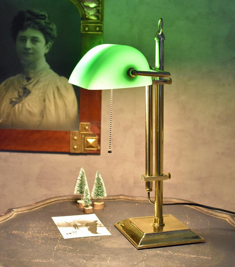 Vintage Schreib Tisch Lampe BANKER Stil Büro Lese Leuchte Glas Schirm grün RETRO