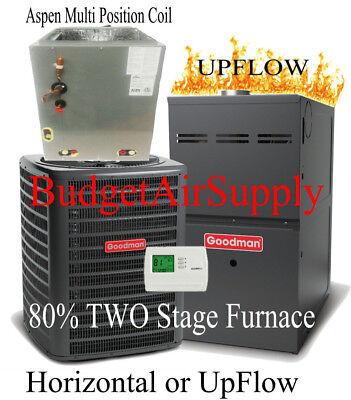 3 Ton Goodman/Aspen 14 seer 80% 100K btu 2 STAGE UPFLOW Gas Furnace