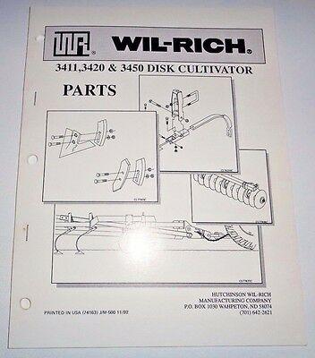 Wil-rich 3411 3420 3450 Disk Cultivator Parts Catalog Book Manual