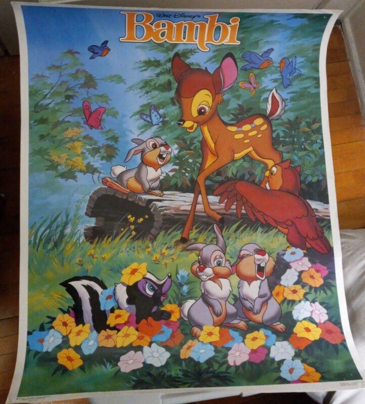 Vintage 80s Bambi Movie Poster Walt Disney 22x28 inches