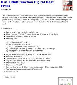Sublimation printer, inks and paper, plus 8 in 1 heat press