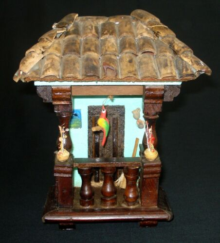 HANDMADE PAINTED 3D TERRACOTA WOOD FOLK ART BLUE HOUSE / FACADE WITH BIRD VTG