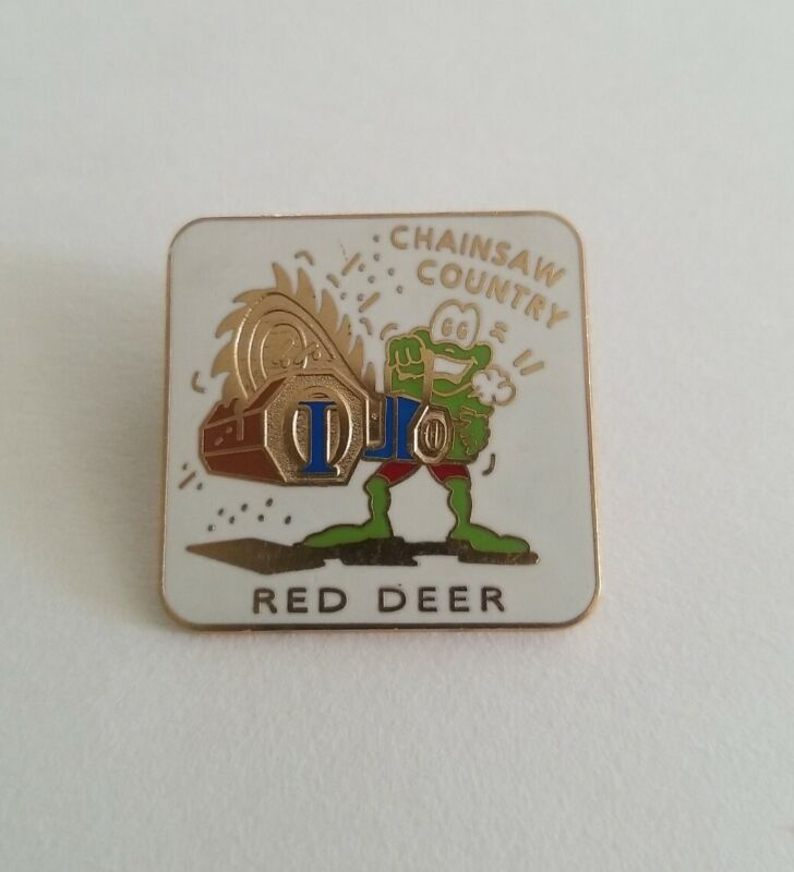 Optimists International Red Deer Alberta Canada Chainsaw Country Frog Lapel Pin