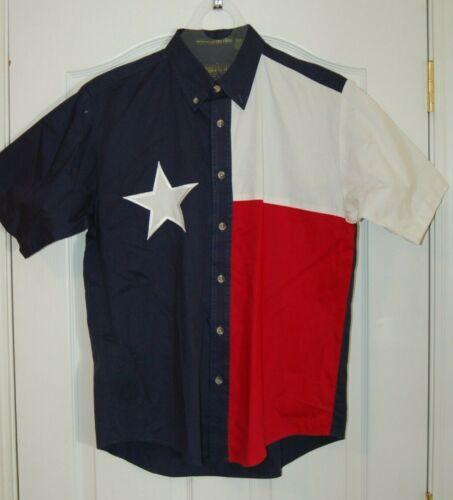 Tiger Hill Luxury Twill Texas Flag Short Sleeve Shirt Size Medium