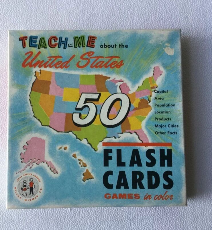 Vintage TEACH ME ABOUT United States FLASH CARD SET 1962 by GELLES-WIDMER CO.
