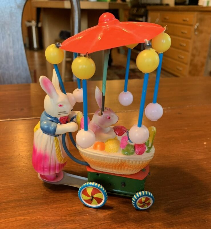Antique Celluloid Easter Bunny Baby Carriage Toy, made in Japan